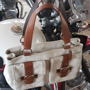 Large White Leather Coach Soho Shopper Tote